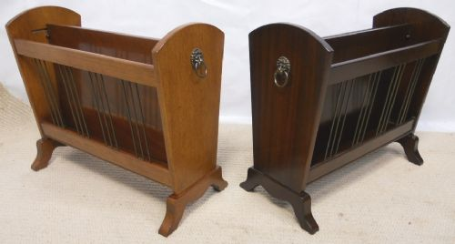 Pair Antique Style Mahogany Magazine / Newspaper Stands